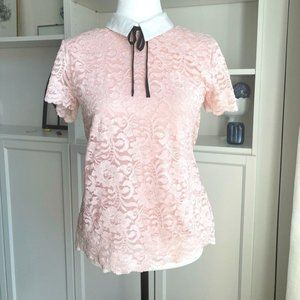 KARL LAGERFELD PINK LACE COLLAR BLOUSE SZ S